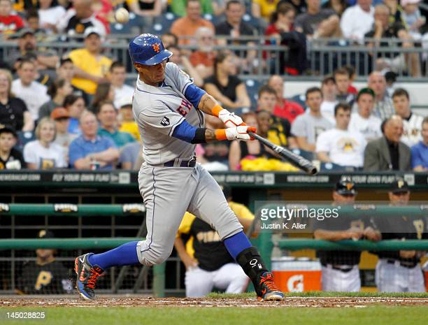 Ronny Cedeno of the New York Mets bats against the Pittsburgh Pirates during the game on May 22 2012 at PNC Park in Pittsburgh Pennsylvania The Mets...