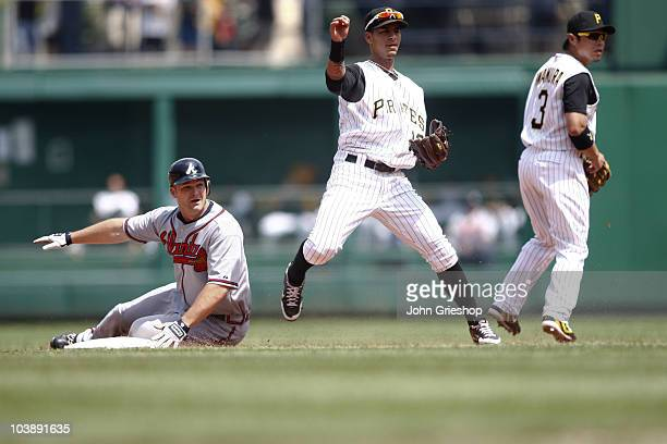 Ronny Cedeno of the Pittsburgh Pirates turns a double play at second base during the game between the Atlanta Braves and the Pittsburgh Pirates on...