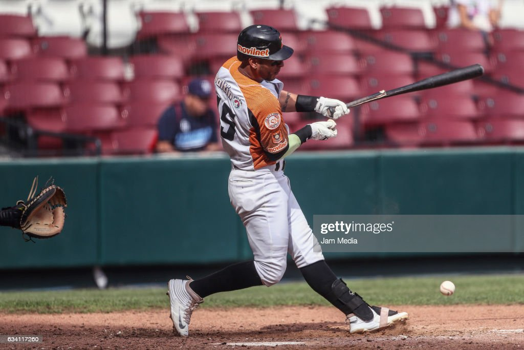 Ronny Cedeño of Venezuela hits the ball during a game between Puerto Rico and Venezuela as part of the Baseball Caribbean Series Culiacan 2017 at Tomateros Stadium on February 06, 2017 in Culiacan, Mexico.