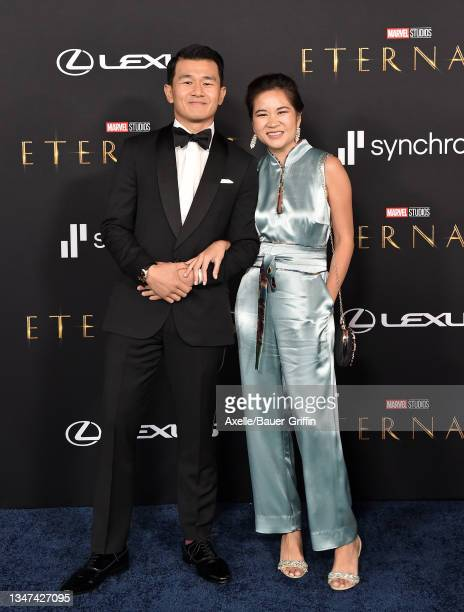 """Ronny Chieng and Hannah Pham attend the Los Angeles Premiere of Marvel Studios' """"Eternals"""" on October 18, 2021 in Los Angeles, California."""
