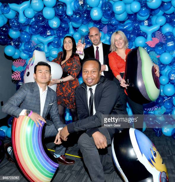 Ronny Chieng and Roy Wood Jr pose with the winners of award for Best in Physical Digital for The Daily Show Presents The Donald J Trump Presidential...