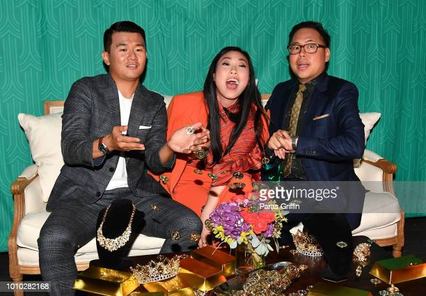 Ronny Chieng Awkwafina and Nico Santos attend 'Crazy Rich Asians' Atlanta Red Carpet Screening AfterParty at Twelve Hotel on August 2 2018 in Atlanta...