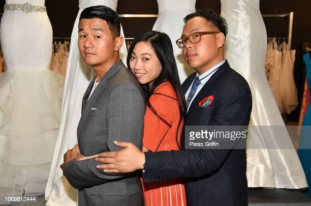 Ronny Chieng Awkwfina and Nico Santos of Crazy Rich Asians surprise a local Atlanta bride at Anya Bridal Warehouse on August 2 2018 in Atlanta Georgia