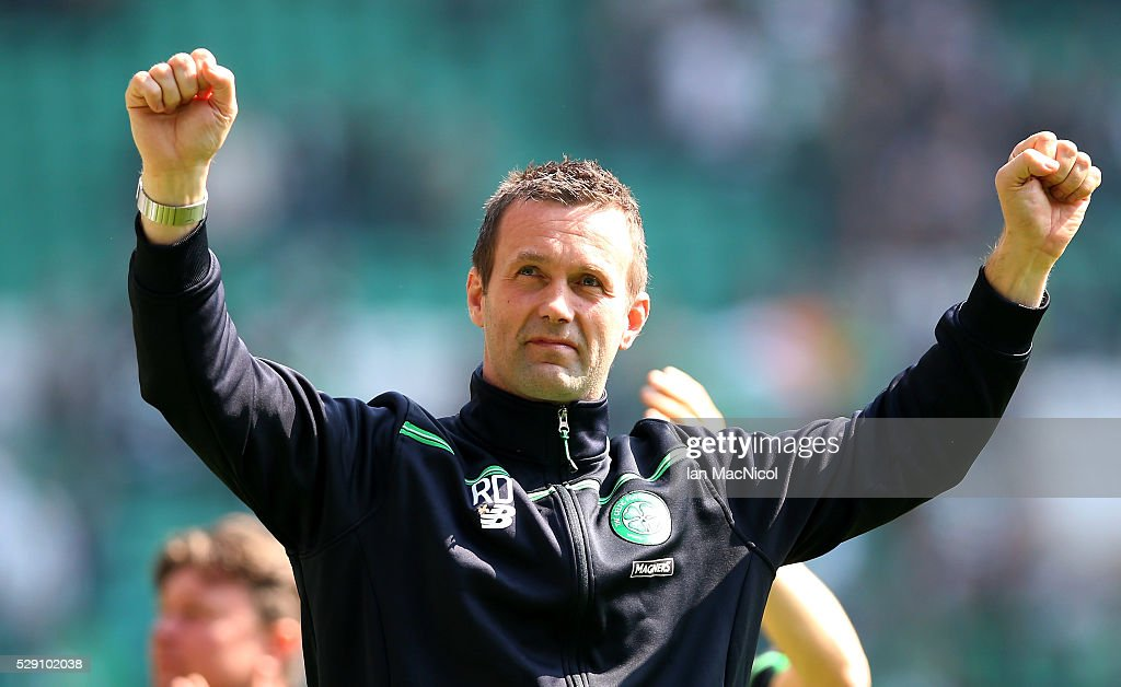 Ronny Deila Celtic Manager looks on during the Ladbroke Scottish Premiership match between Celtic and Aberdeen at Celtic Park on May 8, 2016 in Glasgow, Scotland.