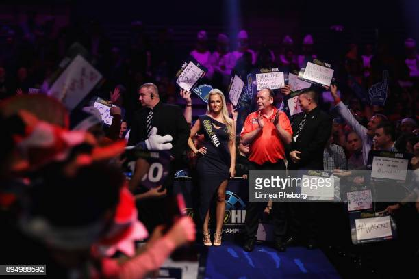 Ronny Huybrechts of Belgium walks in prior to his first round match against Daryl Gurney of Northern Ireland on day five of the 2018 William Hill PDC...