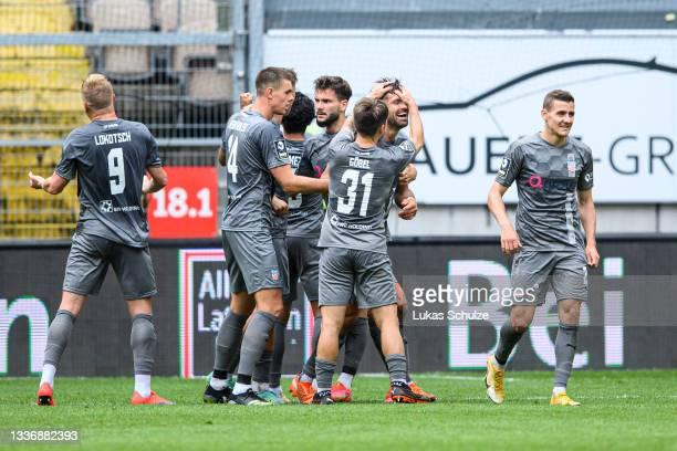 Ronny König of Zwickau celebrates his team's first goal during the 3. Liga match between 1. FC Kaiserslautern and FSV Zwickau at Fritz-Walter-Stadion...