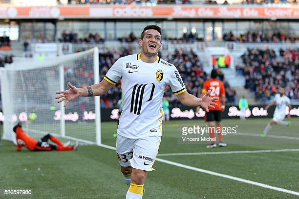 Ronny Lopes of Lille jubilates after scoring the first goal during the French Ligue 1 match between Fc Lorient and Lille OSC at Stade du Moustoir on...