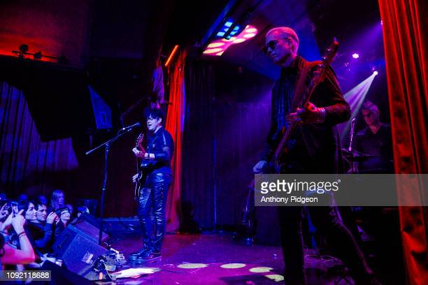 Ronny Moorings of Clan of Xymox with guest William Faith on bass performs on stage at the Star Theater in Portland Oregon USA on 11th November 2018