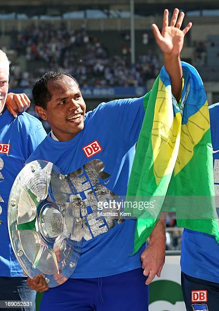 Ronny of Berlin looks on after winning the championship after the Second Bundesliga match between Hertha BSC Berlin and FC Energie Cottbus at Olympic...