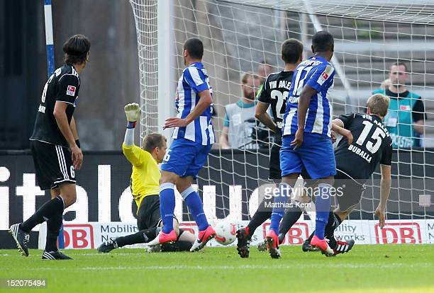 Ronny of Berlin scores the second goal during the Second Bundesliga match between Hertha BSC Berlin and VFR Aalen at Olympic stadium on September 16...