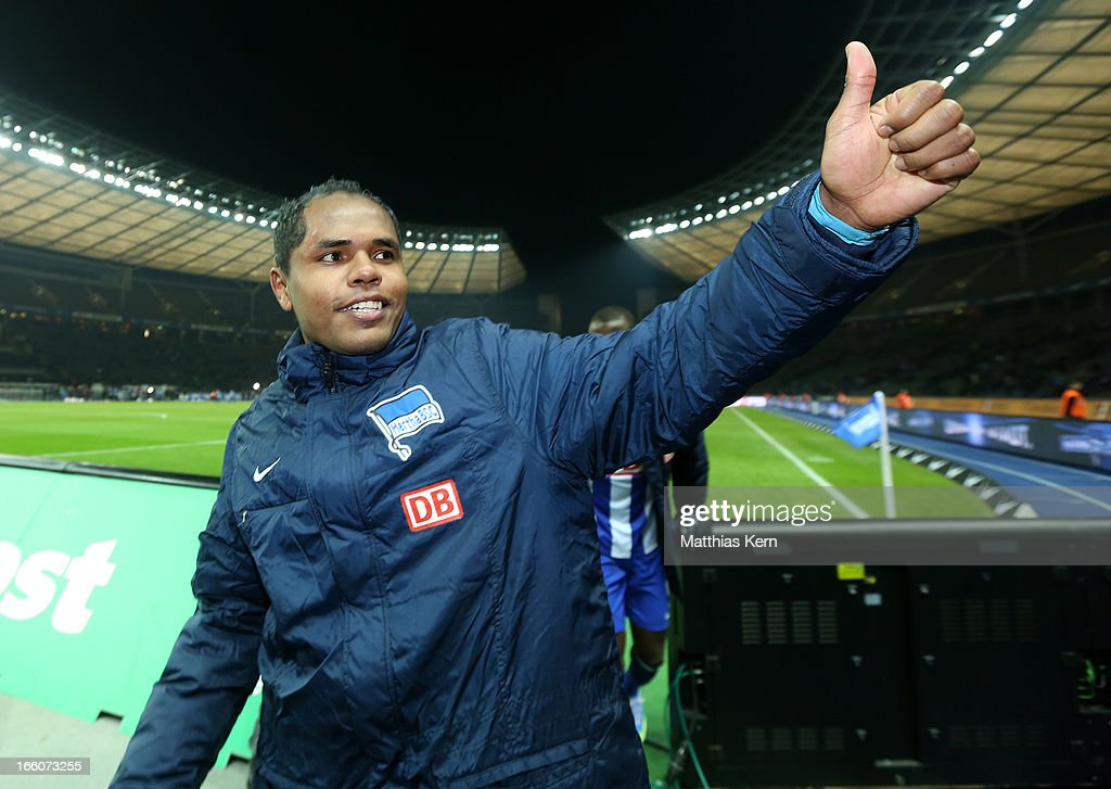 Ronny of Berlin shows his delight after winning the Second Bundesliga match between Hertha BSC Berlin and Eintracht Braunschweig at Olympic stadium on April 8, 2013 in Berlin, Germany.