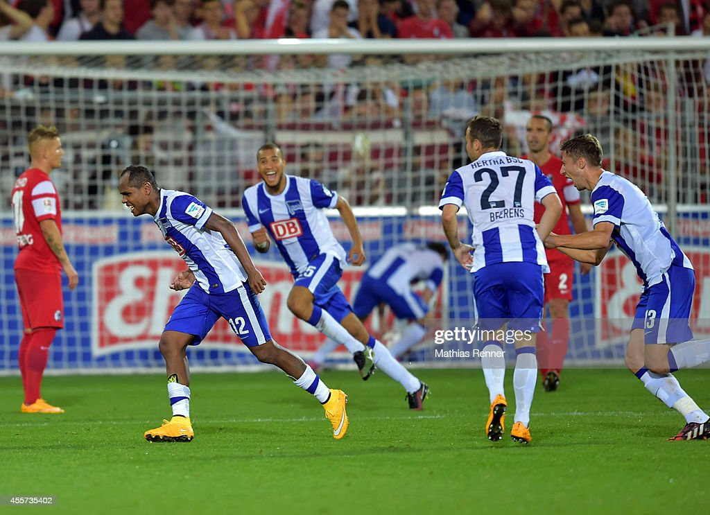Ronny of Hertha BSC celebrates during the Bundesliga match between SC Freiburg and Hertha BSC on september 19, 2014 in Freiburg, Germany.
