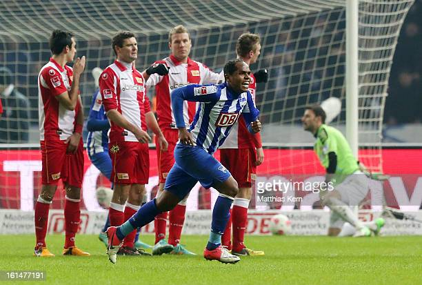 Ronny of Hertha jubilates after scoring the fourth goal during the Second Bundesliga match between Hertha BSC Berlin and 1FC Union Berlin at Olympic...