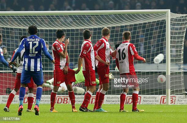 Ronny of Hertha scores the fourth goal during the Second Bundesliga match between Hertha BSC Berlin and 1FC Union Berlin at Olympic Stadium on...