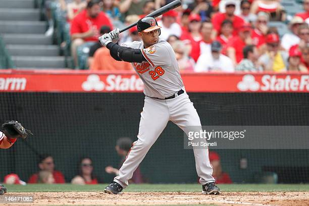 Ronny Paulino of the Baltimore Orioles bats during the game against the Los Angeles Angels of Anaheim on April 22 2012 at Angel Stadium in Anaheim...