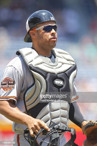 Ronny Paulino of the Baltimore Orioles between innings during the interleague game against the Atlanta Braves at Turner Field on June 17 2012 in...