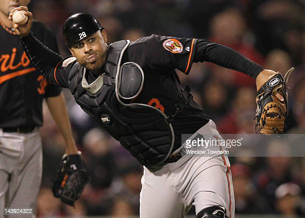 Ronny Paulino of the Baltimore Orioles during the ninth inning of the game against the Boston Red Sox at Fenway Park on May 4 2012 in Boston...