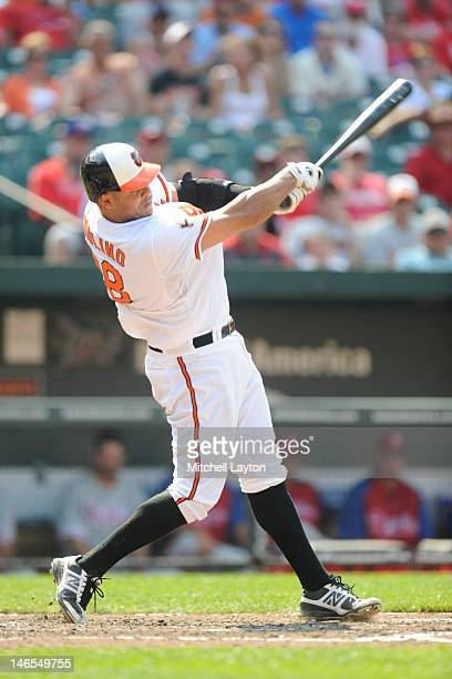 Ronny Paulino of the Baltimore Orioles takes a swing during an interleague baseball game against the Philadelphia Phillies on June 10 2012 at Oriole...