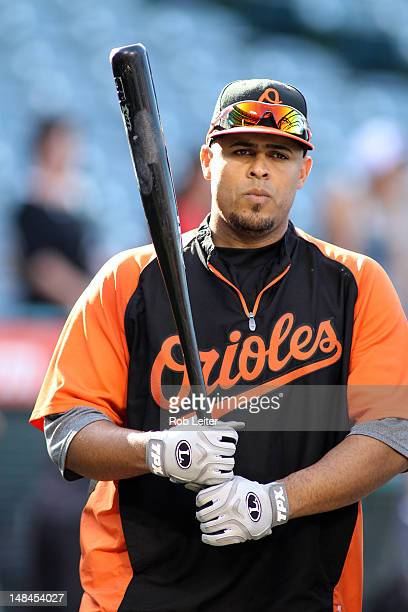 Ronny Paulino of the Baltimore Orioles takes batting practice before the game against the Los Angeles Angels of Anaheim at Angel Stadium of Anaheimon...