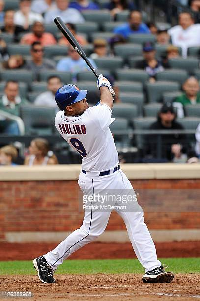 Ronny Paulino of the New York Mets hits a two run home run in the seventh inning during a game against the Philadelphia Phillies at Citi Field on...