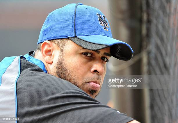 Ronny Paulino of the New York Mets looks on during batting practice prior to the game against the Florida Marlins at Citi Field on August 1 2011 in...