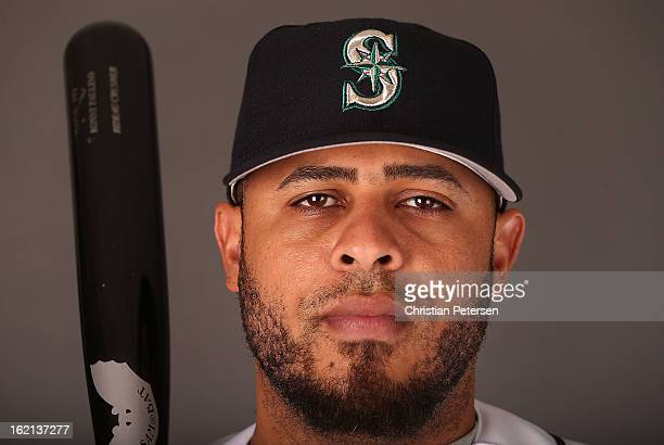 Ronny Paulino of the Seattle Mariners poses for a portrait during spring training photo day at Peoria Stadium on February 19 2013 in Peoria Arizona