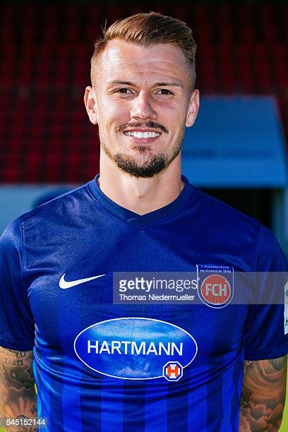 Ronny Philp poses during the 1FC Heidenheim team presentation at VoithArena on July 5 2016 in Heidenheim Germany
