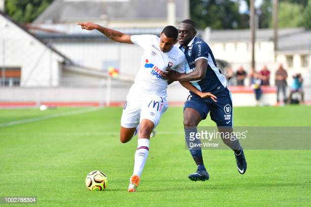 Ronny Rodelin of Caen and Amos Youga of Le Havre during the preseason friendly match for the Trophee des Normands between Caen and Le Havre on July...