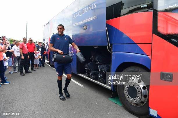 Ronny Rodelin of Caen arrives for the preseason friendly match for the Trophee des Normands between Caen and Le Havre on July 20 2018 in Vire France