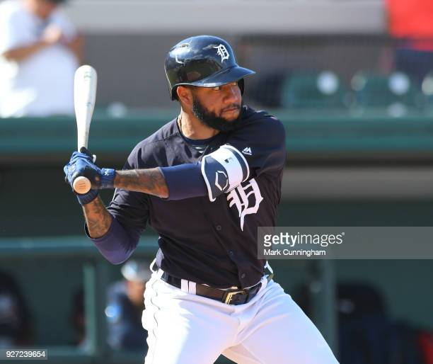 Ronny Rodriguez of the Detroit Tigers bats during the Spring Training game against the Atlanta Braves at Publix Field at Joker Marchant Stadium on...