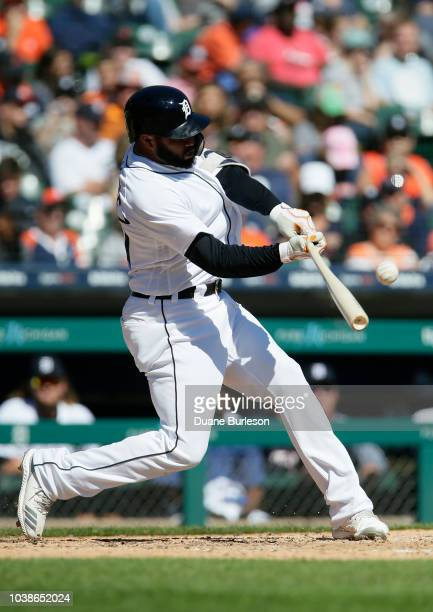 Ronny Rodriguez of the Detroit Tigers flies out against the Kansas City Royals during the fifth inning at Comerica Park on September 23 2018 in...