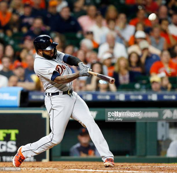 Ronny Rodriguez of the Detroit Tigers hits a home run in the fifth inning off Justin Verlander of the Houston Astros at Minute Maid Park on August 21...