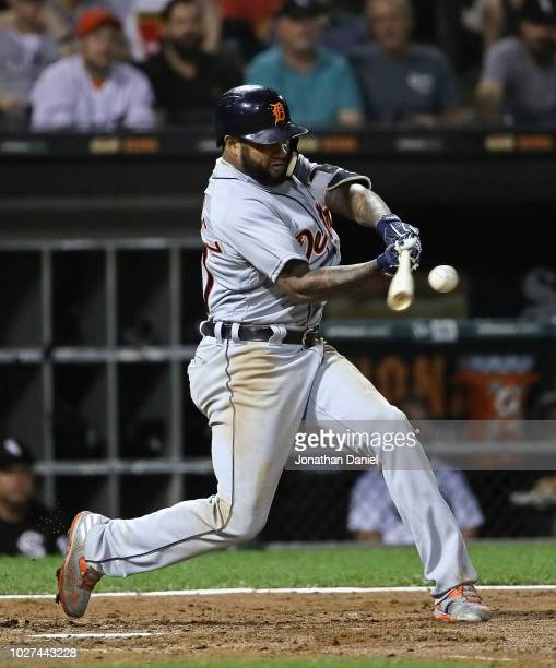 Ronny Rodriguez of the Detroit Tigers hits a solo home run in the 4th inning against the Chicago White Sox at Guaranteed Rate Field on September 5...