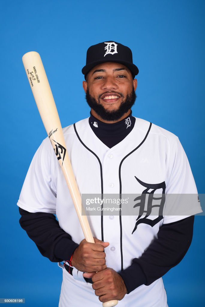 Ronny Rodriguez #80 of the Detroit Tigers poses for a photo during photo day on February 20, 2018 in Lakeland, Florida.