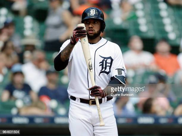 Ronny Rodriguez of the Detroit Tigers prepares to bat against the Los Angeles Angels of Anaheim during the eighth inning at Comerica Park on May 31...