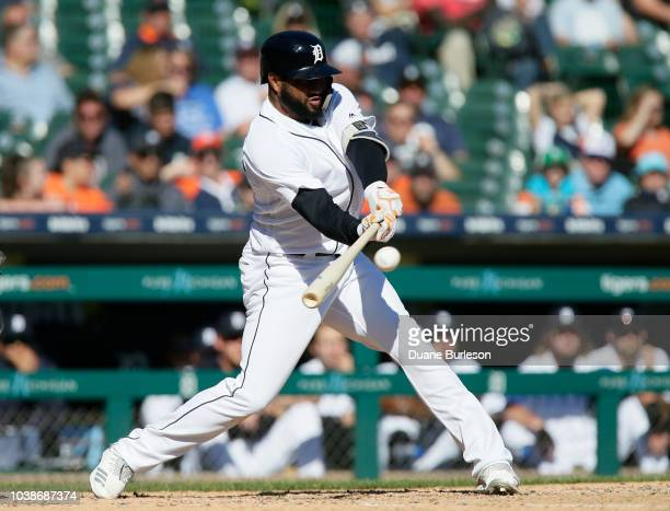 Ronny Rodriguez of the Detroit Tigers singles against the Kansas City Royals during the ninth inning at Comerica Park on September 23 2018 in Detroit...