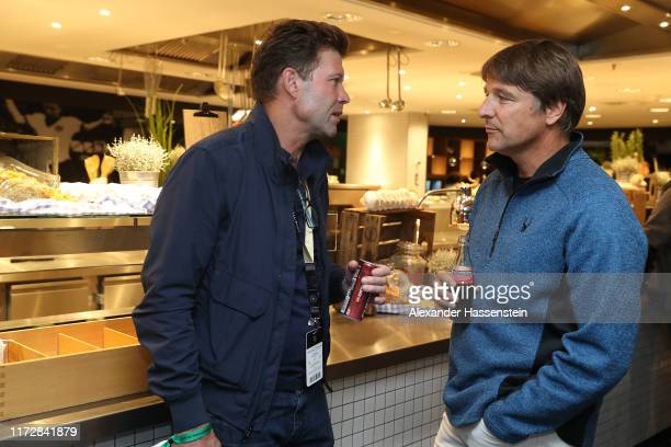Ronny Teuber talks to Michael Oenning at the Club of former German national players annual meeting around the UEFA Euro 2020 qualifier match between...