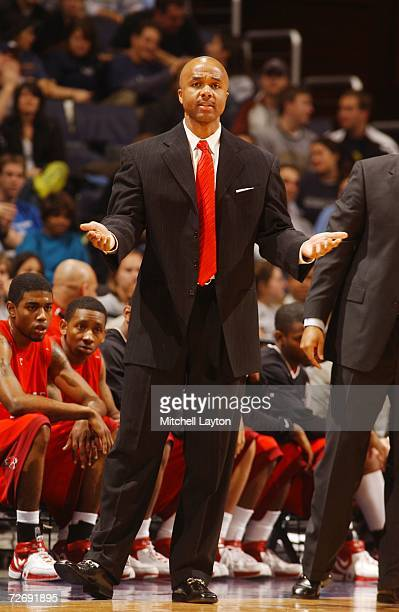 Ronny Thompson head coach of the Ball State Cardinals during a college basketball game against Georegtown Hoyas at Verizon Center on November 27 2006...