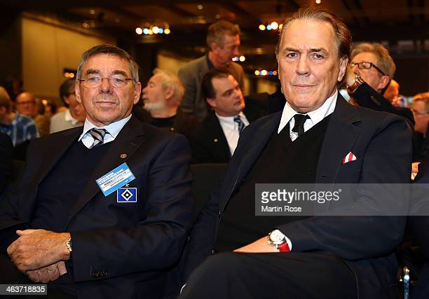 Ronny Wulf and Juergen Juergen Hunke look on during the Annual Meeting of Hamburger SV at the Hamburger congress center on January 19 2014 in Hamburg...