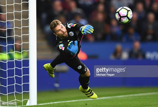 RonRobert Zieler of Leicester City in action during the Premier League match between Leicester City and Burnley at The King Power Stadium on...