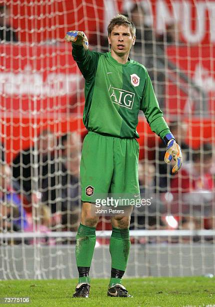 Ron-Robert Zieler of Manchester United in action during the FA Youth Cup semi-final second leg match between Manchester United Under-18s and Arsenal...