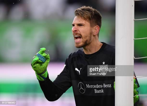 RonRobert Zieler of Stuttgart shouts during the Bundesliga match between VfL Wolfsburg and VfB Stuttgart at Volkswagen Arena on February 3 2018 in...