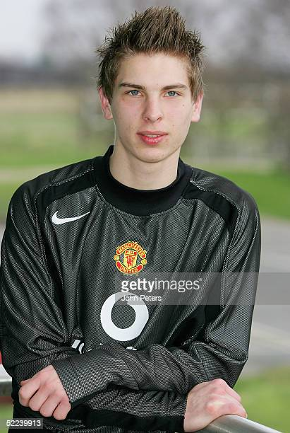 RonRobert Zieler poses in a Manchester United shirt after joining Manchester United on a Schlorship Scheme in July 2005 on February 25 2005 at...