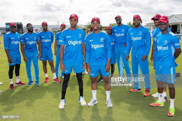 Ronsford Beaton and Shimron Hetmyer receive their first caps before the first match in the One Day International series between New Zealand and the...