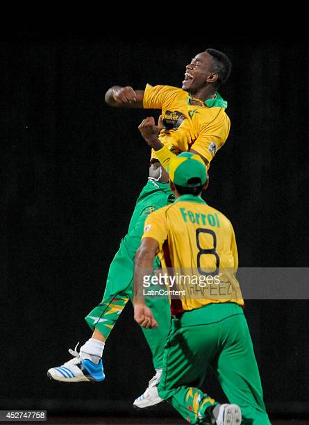 Ronsford Beaton of Guyana Amazon Warriors celebration jump after winning a match between Barbados Tridents and Guyana Amazon Warriors as part of the...