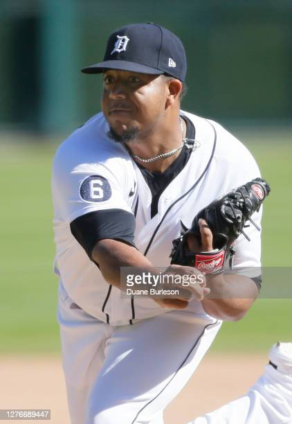 Rony Garcia of the Detroit Tigers pitches against the Cleveland Indians at Comerica Park on September 20 in Detroit Michigan