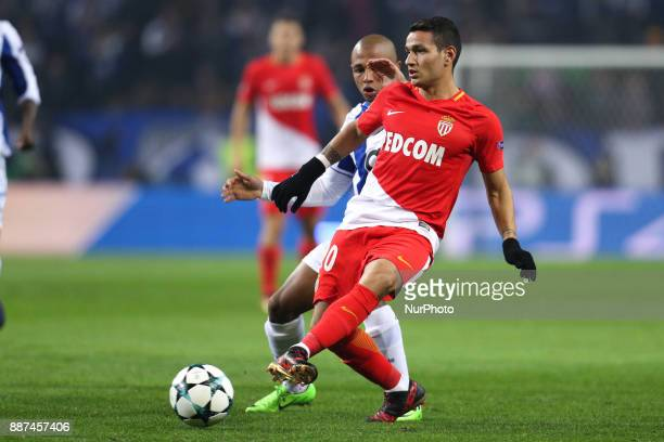 Rony Lopes midfielder of AS Monaco FC in action with Porto's Algerian forward Yacine Brahimi during the UEFA Champions League Group G match between...