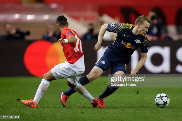 Rony Lopes of AS Monaco Lukas Klostermann of RB Leipzig during the UEFA Champions League match between AS Monaco v RB Leipzig at the Stade Louis II...