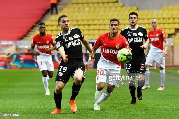 Rony Lopes of Monaco and Oualid El Hajjam of Amiens during the Ligue 1 match between AS Monaco and Amiens SC at Stade Louis II on April 28 2018 in...