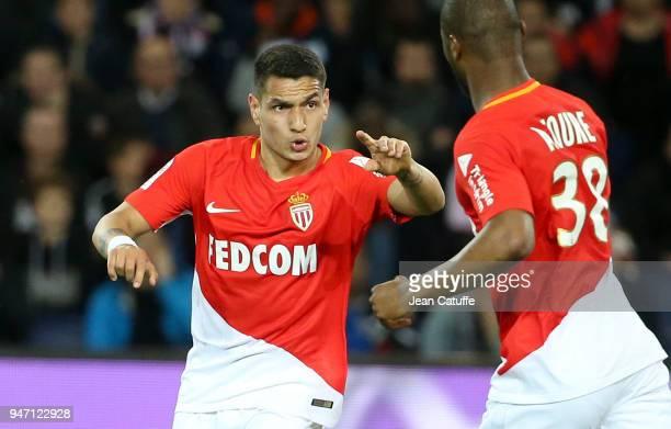 Rony Lopes of Monaco celebrates his goal with Almamy Toure during the Ligue 1 match between Paris Saint Germain and AS Monaco at Parc des Princes...